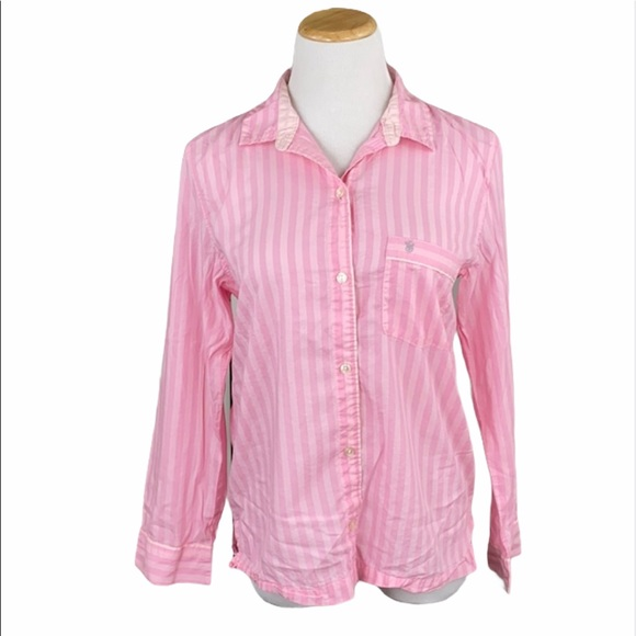 Victoria's Secret Iconic Pink Striped Sleep Shirt
